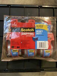Clear Scotch Tape Heavy duty Shipping Packing W Dispenser 1 88 x 22 2yd 6 Rolls