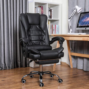 Executive Office Chair Swivel Computer Gaming Chair Leather Recliner Desk Seat