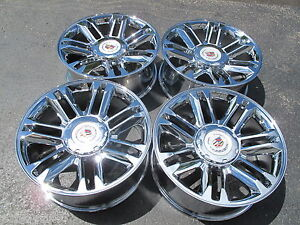 22 New Platinum Style Cadillac Escalade Chrome 4 Wheels 5358 With Cadillac Caps