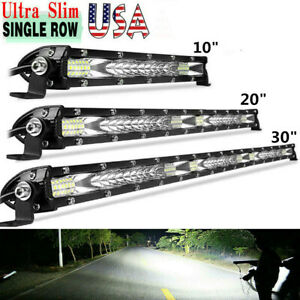 10 20 30 Inch Led Light Bar Flood Spot Combo Work Driving Offroad 4wd Atv Us