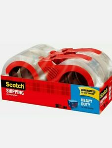 Scotch Heavy Duty Shipping Packaging Tape Roll With Dispenser Clear 4 Pack