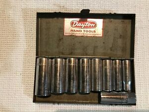 Vintage 8 Pc Usa dayton Deep Socket Set 3 8 Drive With Box Dayton Hand Tools
