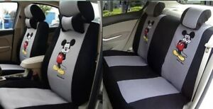 Car Seat Covers Full Set Universal Mickey Mouse Gray Mesh