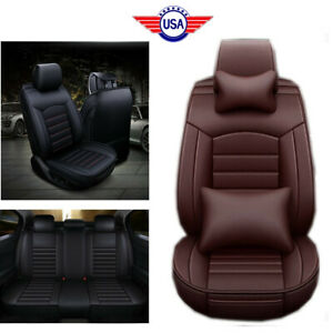 Luxury Full Set Car Seat Cover Cushion Pu Leather Front Rear Protector Brown
