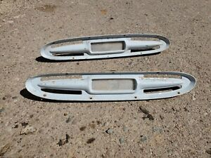 1961 Chevy Truck Directional Bezels Pair Chevrolet Apache Patina White