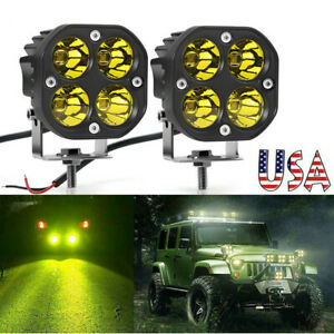 2x 3inch 40w Led Work Light Cube Pods Offroad Driving Fog Spot Amber yellow Lamp