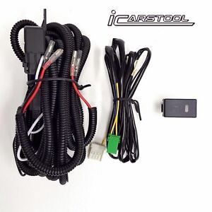 Fog Light H3 Wiring Harness Relay Kit On Off Led Switch 2 Plugs Wire 12v 30a