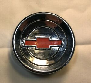 60 66 Chevy Truck Steering Horn Button chrome W Red Bowtie Rubber Retainer