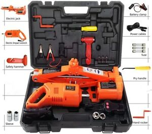 5 Ton 12v Car Jack With Impact Wrench In Carrying Case 12 Pc Set