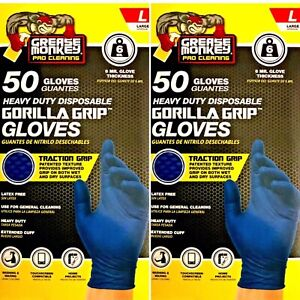 Grease Monkey Nitrile Gorilla Grip Heavy Duty Traction Grip Gloves Large 100 Pk
