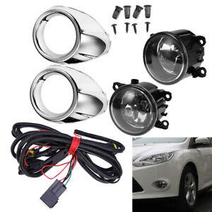 2 Driving Fog Lights H11 Clear Lens Bumper Lamps Bulbs For Ford Focus 2012 2014 Fits 2012 Ford Focus