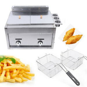 Countertop Deep Fryer Restaurant Kitchen 6l 2 Basket Capacity 18000btu Hr Us