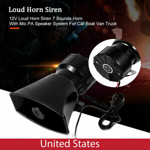 80w 12v Car Alarm Speaker Pa Siren Horn Mic Emergency Microphone 7 Sound