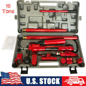 10 Ton Portable Power Hydraulic Jack Autobody Frame Repair Tools Kit For Truck