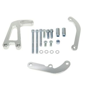 Polished Aluminum Power Steering Bracket For Chevy Lwp Sbc Long Water Pump 350