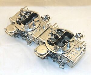 Pair Holley 600 Cfm 2x4 Dual Quad Tunnel Ram Carbs Silver