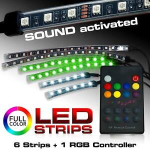 Genssi 6pcs Rgb Led Light Strips Underglow Lights Kit Wireless Remote 8 Colors