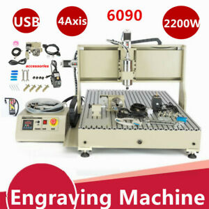 Usb 4 Axis Cnc 6090 Router Engraver Milling Metal Woodworking Machine 2200w rc
