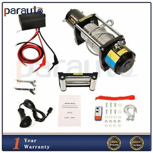 Electric Winch Steel Cable Rope 8000 Lbs Capacity 12v Atv Utv Truck Trailer