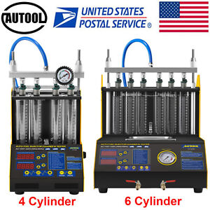 Autool Car Motorcycle 4 6 Cylinder Fuel Injector Tester Cleaner Cleaning Machine