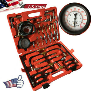 Fuel Injection Pressure Gauge Tester Kit Car System Pump Tool Set 0 140psi Us
