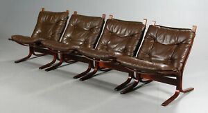 Vintage Danish Mid Century 1 Of 4 Leather Seista Chairs By Ingmar Relling 1