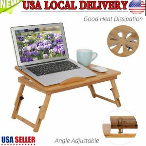 Portable Folding Lap Laptop Desk Bamboo Good Heat Dissipation Bed Table Stand Us