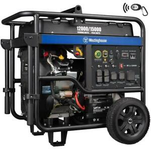 Westinghouse Wgen12000 15 000 w Portable Gas Powered Generator With Remote Start