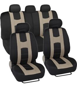 Sporty Seat Covers For Car Suv rome Sport Racing Stripes Black Tan Us Seller