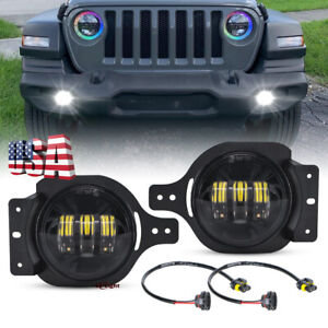 Pair 4inch Round Led Fog Lights Passing Driving Lamp For Jeep Jl Sport 2018 2021