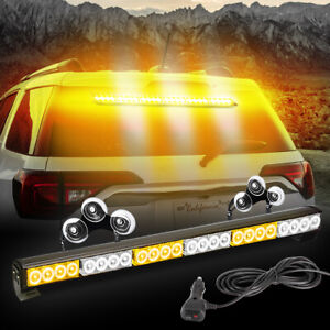 30 Led Roof Emergency Strobe Lights Bar Beacon Red White Snow Plow Truck Warning