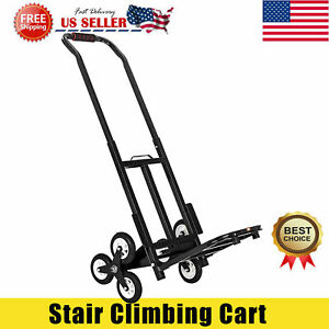 New Portable Stair Climbing Folding Cart 330 Lbs Capacity Hand Truck Dolly Black