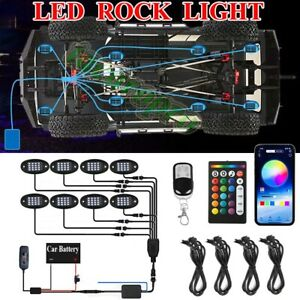 8pcs Rgb Led Rock Lights Kit Underbody Neon Light Pods Bluetooth App Control