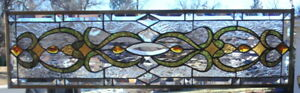 Stained Glass Transom Window Hanging 36 1 4 X 10 1 2 Brass Frame Edging