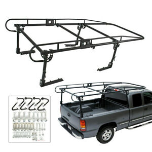 Pick Up Truck Ladder Lumber Rack Bed Full Size Adjustable Utility 1000 Lbs Black