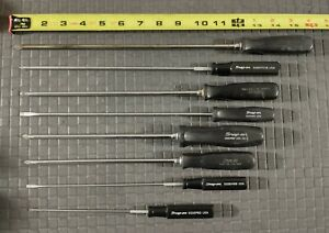 Snap On 8 Piece Classic Black Hard Handle Long Cabinet Screwdriver Set Usa