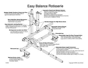 Auto Rotisserie Plans For Any Truck Car Ford Chevy Dodge Foreign Domestic