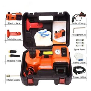 5 Ton 12v Car Hydraulic Jack 3 In 1 Tire Pump Led Light 12 Pc In Carrying Case