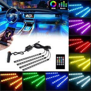 48led Rgb Car Interior Atmosphere Light Strip Music Control Color Changing Neon