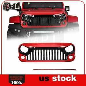 For 07 2018 Jeep Wrangler Jk 1pcs Front Grille Red Black Angry Bird Us
