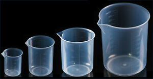 Clear Plastic Graduated Beaker With Spout Set Of 4 100 250 500 And 1000 Ml