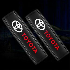 2x Car Seat Safety Belt Cover Genuine Leather Shoulder Pads Cushion For Toyota