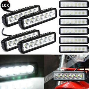 10x 6led 800lm Bright Light Spot Work Bar Driving Fog Offroad Car Lamp For Truck