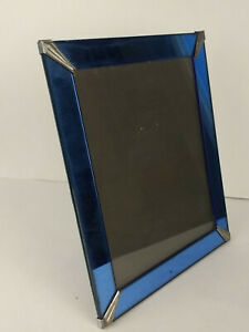 Vintage 1930 S Art Deco Blue Mirror Easel Picture Frame 12x10