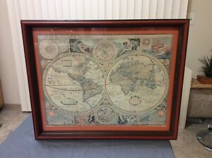 A New And Accvrat Map Of The World Framed Matted 1651 Tartaria