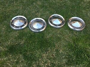 1955 56 Chevy 4 Dog dish Hubcaps