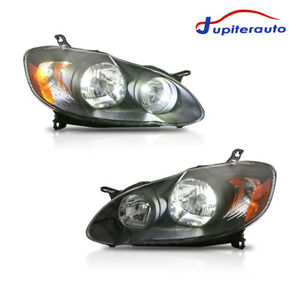 Pair Black Housing Headlights For 2003 2004 2005 2006 2007 2008 Toyota Corolla