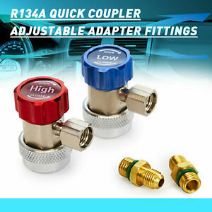 R134a Quick Coupler Adapters Lp Hp Ac Recharge Fittings With 2 1 4 Man Flares