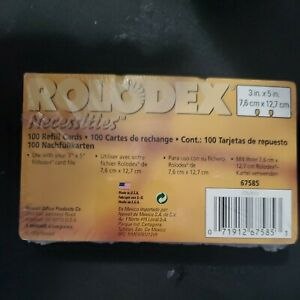 Vintage Rolodex Necessities 100ct 3 X 5 White Refill Cards New Sealed