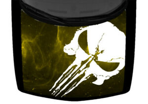 Punisher Skull White Lightning Yellow Truck Hood Wrap Vinyl Car Graphic Decal